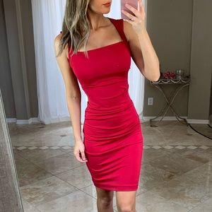 Nicole Miller Red Ruched Cap Open Back Dress